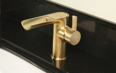 Open Channel Faucet in PVD Satin Brass Finish.